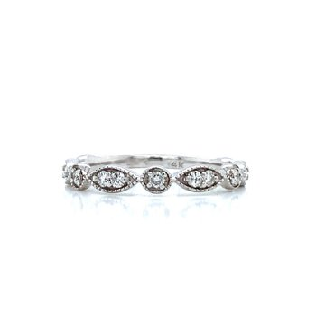 White Gold and Diamond Stackable