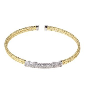 Sterling Silver Double 2mm Mesh Cuff with CZ, 2 Tone, 18K Yellow Gold and Rhodium Finish