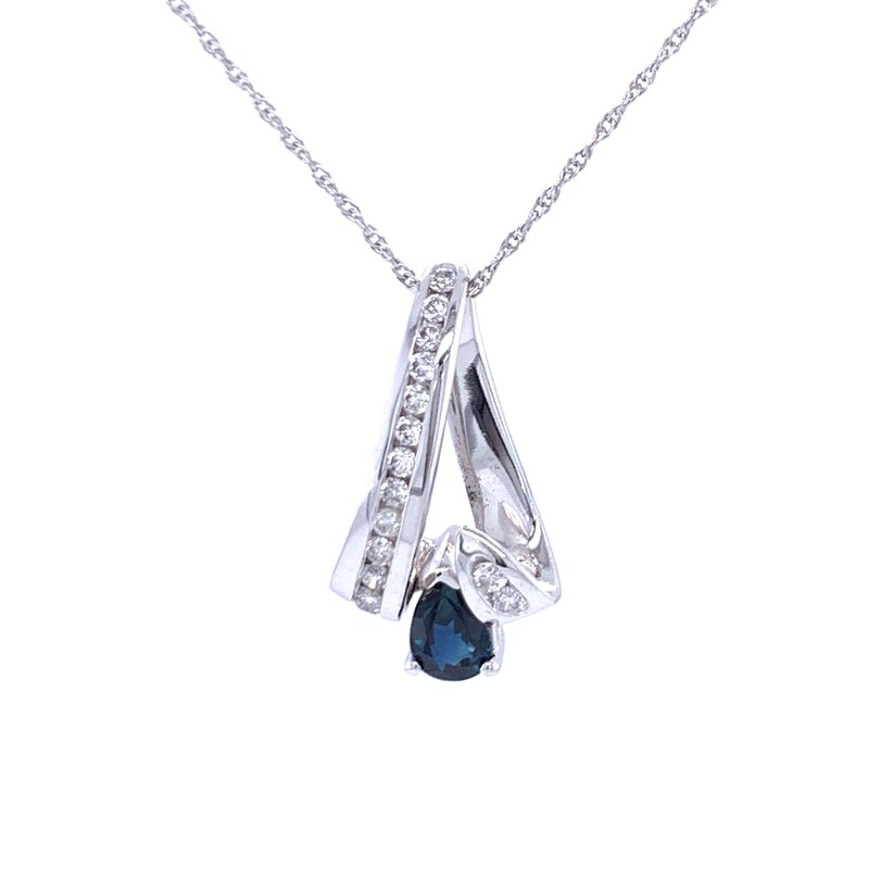 Bryan Beauties Sapphire & Diamond Ribbon Pendant