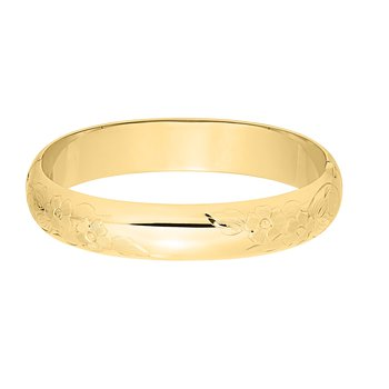 12mm Gold Filled Floral Engraved Bangle Bracelet