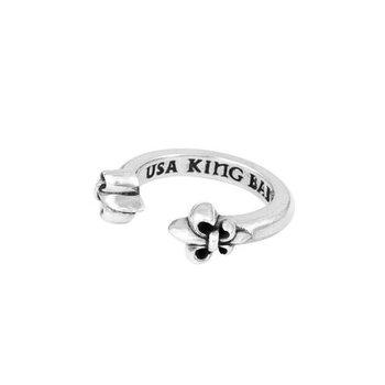 Open Ring with Fleur De Lis