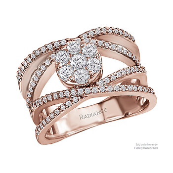 "14KR RADIANCE COLLECTION  DOUBLE "" X "" DIAMOND RING DIAMOND WEIGHT 1CTW"