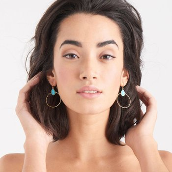 TURQUOISE FRONT HOOP EARRINGS