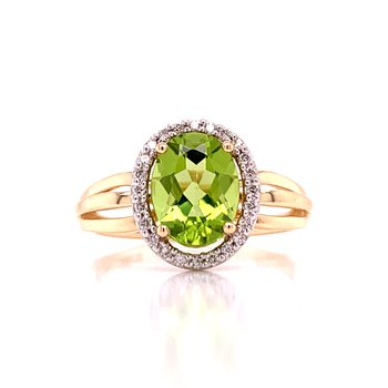 Oval Peridot & Diamond Ring