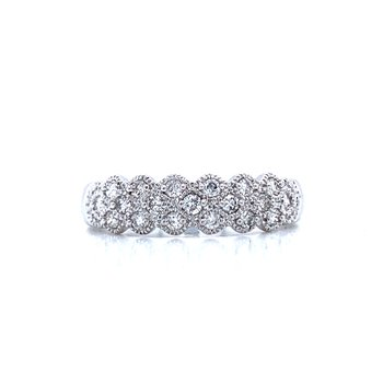 Beaded Triple Row Diamond Band