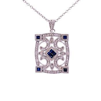 Vintage Styled Framed Sapphire & Diamond Pendant