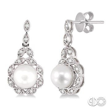 Vintage Style Pearl & Diamond Dangles