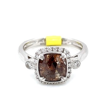 Chocolaty Cushion Cut Diamond Ring