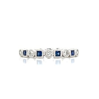 Sapphire & Diamond Shapes Band