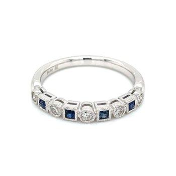 Sapphire & Diamond Shapes Band