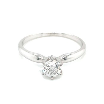 1/2 carat Round Brilliant Cut Diamond Solitaire-14kw