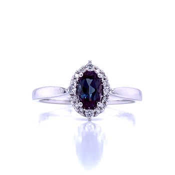 Created Alexandrite Ring with Halo