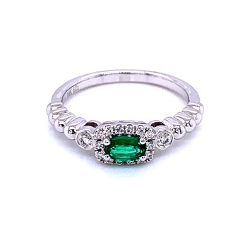 Sideways Oval Emerald Stackable with Halo
