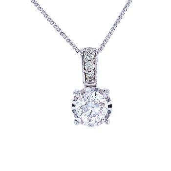 Tru-reflections Solitaire Diamond Pendant 1ctw