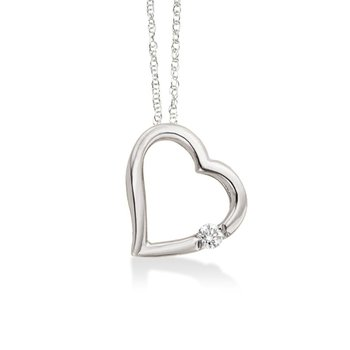 Floating Heart with Diamond in White Gold