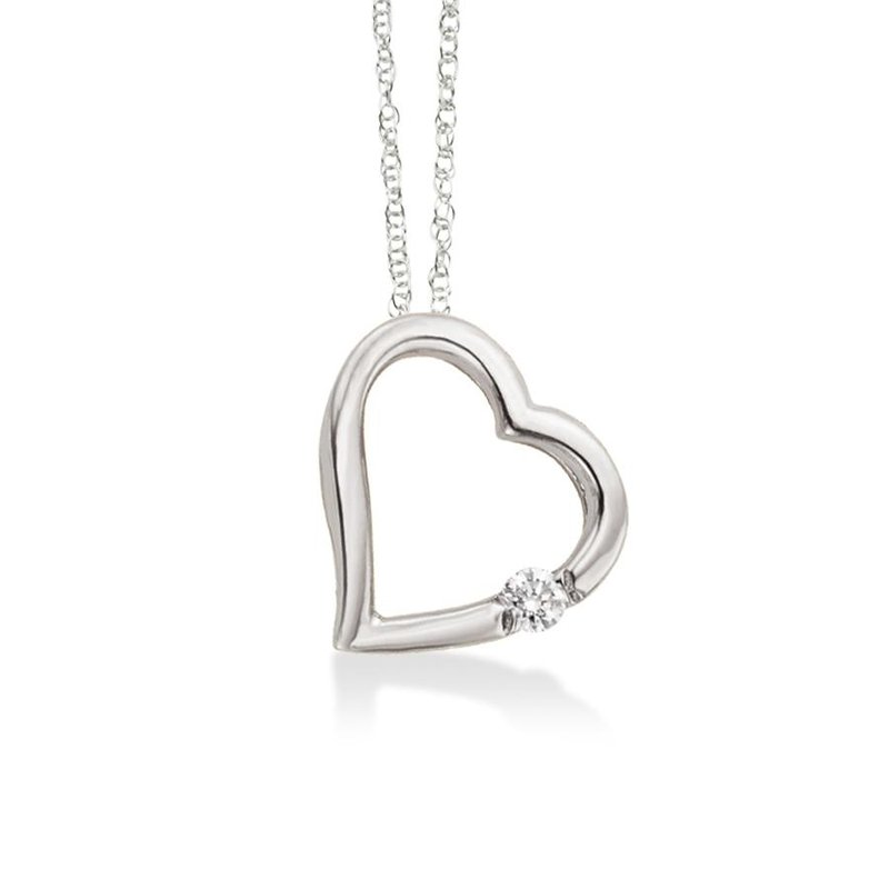 Bryan Beauties Floating Heart with Diamond in White Gold
