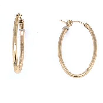 Gold Hoop Earrings - Oval 30mm