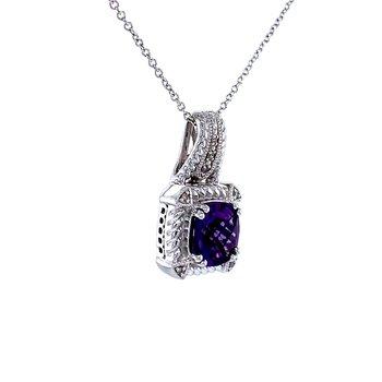 Cushion Cut Amethyst & Diamond Pendant