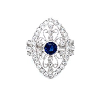 Intricate Patterned Sapphire & Diamond Ring