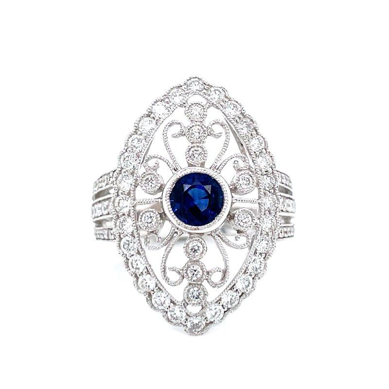 Bryan Beauties Intricate Patterned Sapphire & Diamond Ring