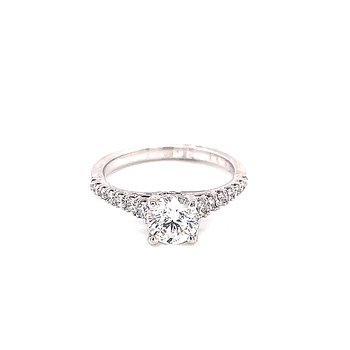 Round Diamond Engagement with Pave' Shank