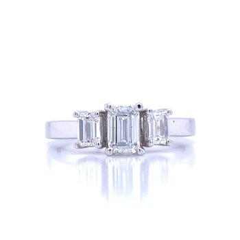 Three Stone Emerald Cut Ring