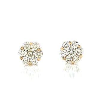 Flower Cluster Earrings 5/8ctw 10ky