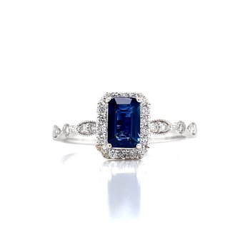 Sapphire & Diamond Halo Emerald Cut Ring