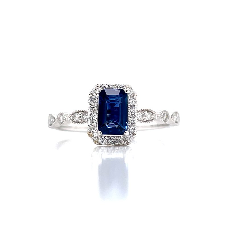 Bryan Beauties Sapphire & Diamond Halo Emerald Cut Ring