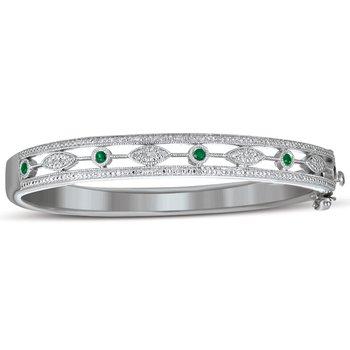 Vintage Emerald and Diamond Bangle