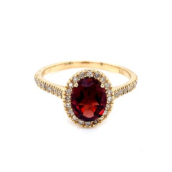 Oval Garnet & Diamond Ring