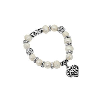 Fresh Water Stretch Pearl Heart Bracelet