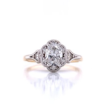 Vintage Inspired 14k Yellow & White Gold Diamond Engagement Ring