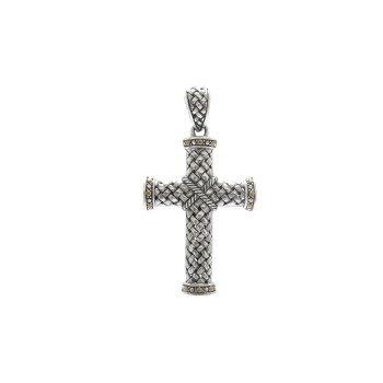 Kreuz-Checkerboard Design Cross Pendant Silver/18ky