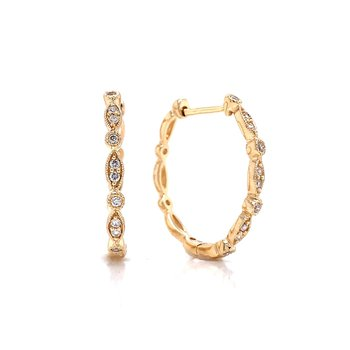 Scalloped Edge Diamond Hoop Earrings-14ky