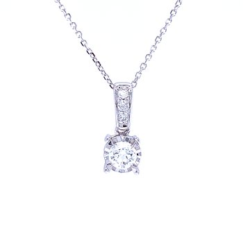 Tru-reflections Solitaire Diamond Pendant 1/3ctw