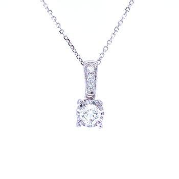 Tru-reflections Solitaire Diamond Pendant 1/3ctw