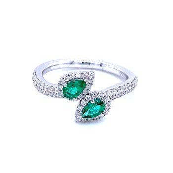 Perfectly Please with a Pair of Pears-Emerald Ring