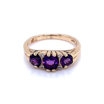 Amethyst Three Stone Ring