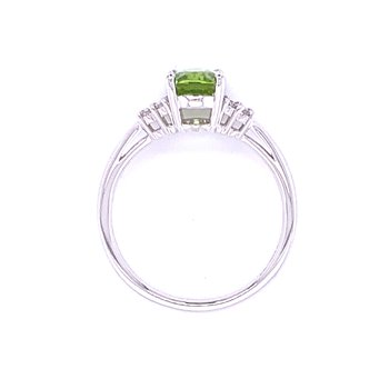 Oval Peridot  with Diamond Accents