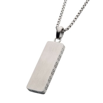 Steel Engravable Drop Pendant with Round Box Chain