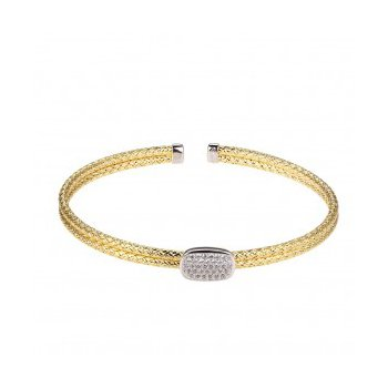 Sterling Silver Double 2mm Mesh Cuff with Pave' CZ Center, 2 Tone, 18K Yellow Gold and Rhodium Finish