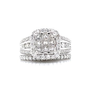 Invisible Set Center with Halo Wedding Set