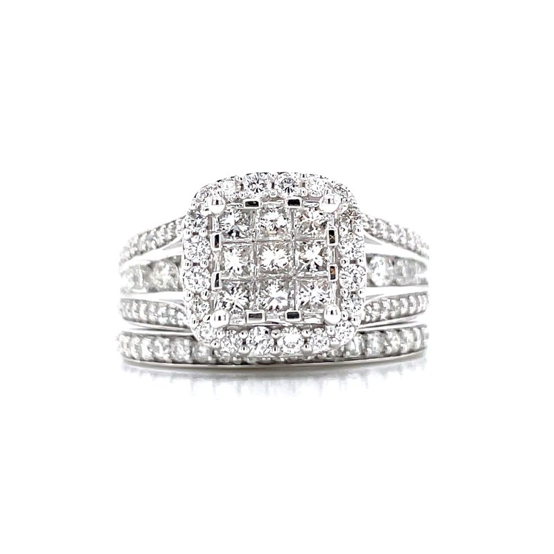 Bryan Beauties Invisible Set Center with Halo Wedding Set
