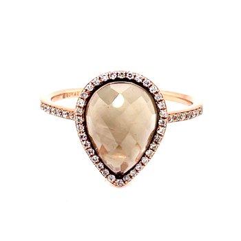 Smoky Quartz & Diamond Pear Shape