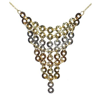 Tricolor Gold Bibb Necklace