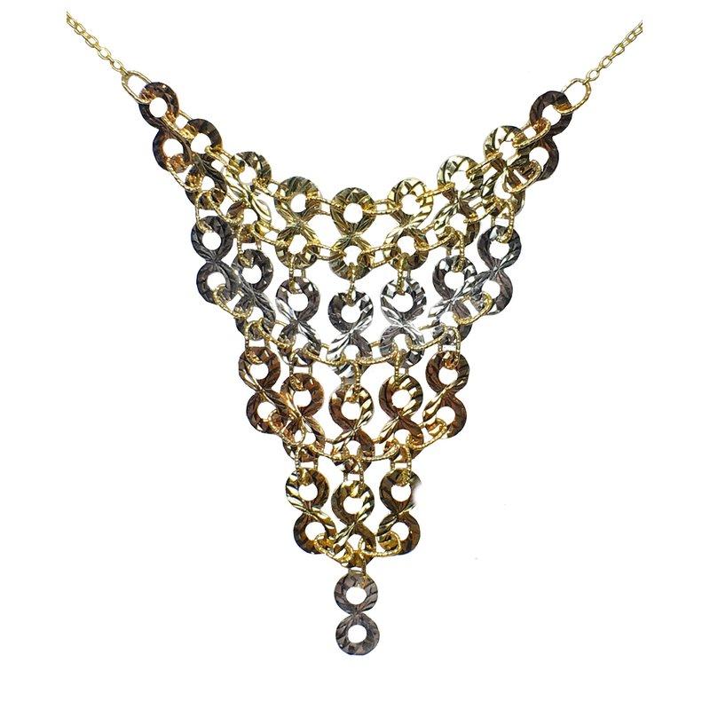 Bryan Beauties Tricolor Gold Bibb Necklace