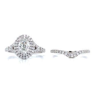 Romance Double Halo Oval Bridal Set