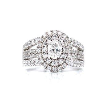Oval Double Halo 1 1/2ctw Diamond Ring