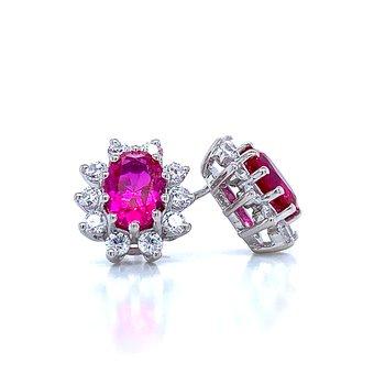 Simulated Ruby & Diamond Earrings